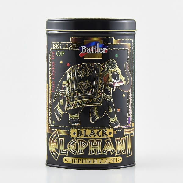Battler Tea Tin Caddy Black Elephant 100g - BATTLER - Tea - in Sri Lanka
