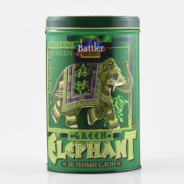 Battler Tea Tin Caddy Green Elephant 100g - in Sri Lanka