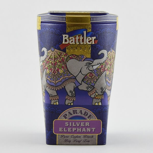 Battler Tea Tin Caddy Silver Elephant 100g - BATTLER - Tea - in Sri Lanka
