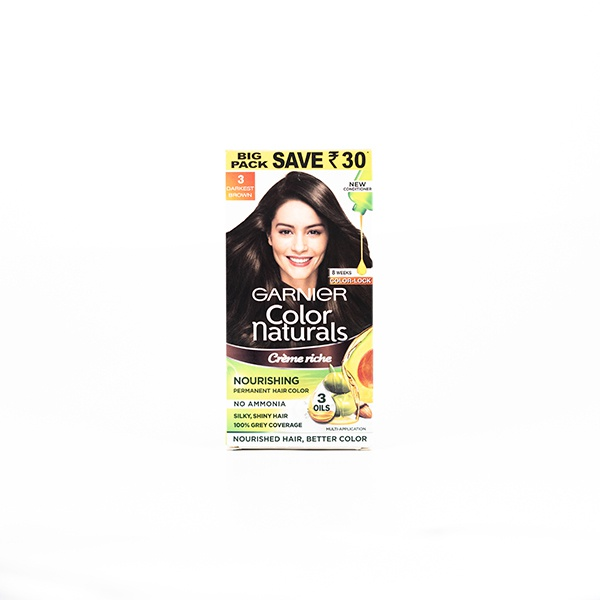 Garnier Hair Color No Ammonia Darkest Brown 3 100ml - in Sri Lanka