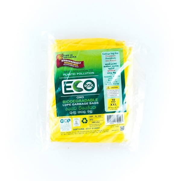 Eco Sack Garbage Bag Ldpe Oxobio Yelw Xxl 10 - in Sri Lanka