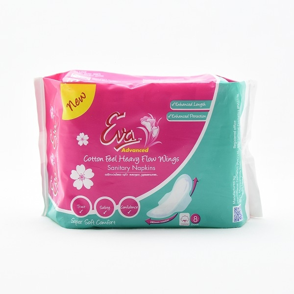 Eva Sanitary Napkins Regular Heavy Flow Wings 8s - in Sri Lanka