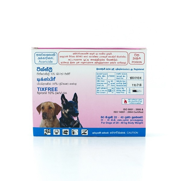 Tixfree Spot On Dog 20 - 40 Kg 2.68ml - in Sri Lanka