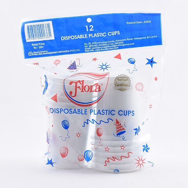 Flora Disposable Plastic Cups 12S - in Sri Lanka