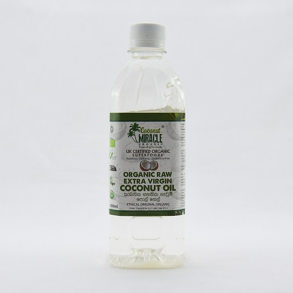 Coconut Miracle Organic Raw Vrgin Coconut Oil Pet 500ml - in Sri Lanka