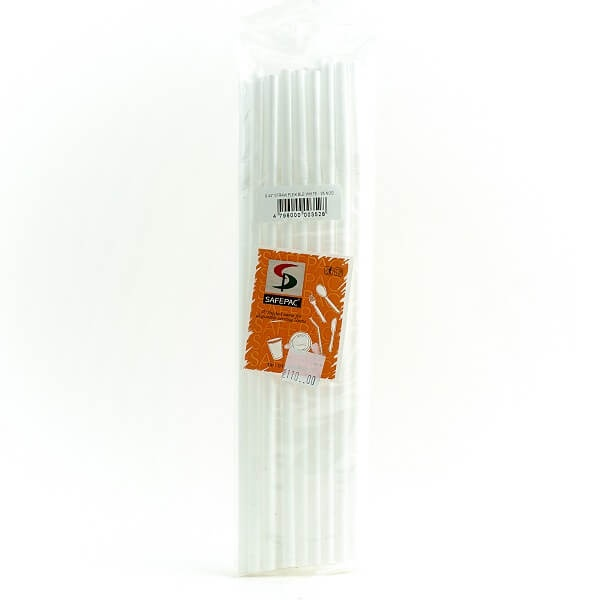 "Safepac 9.44"" Straw Flexible White 25s - in Sri Lanka"