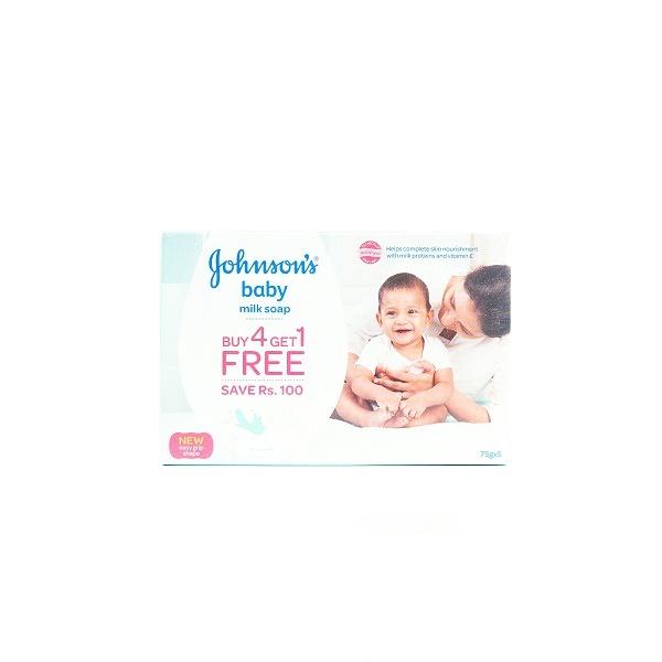 Jhonson & Jhonson Milk Soap 75G Buy 4 Get 1 Free - in Sri Lanka