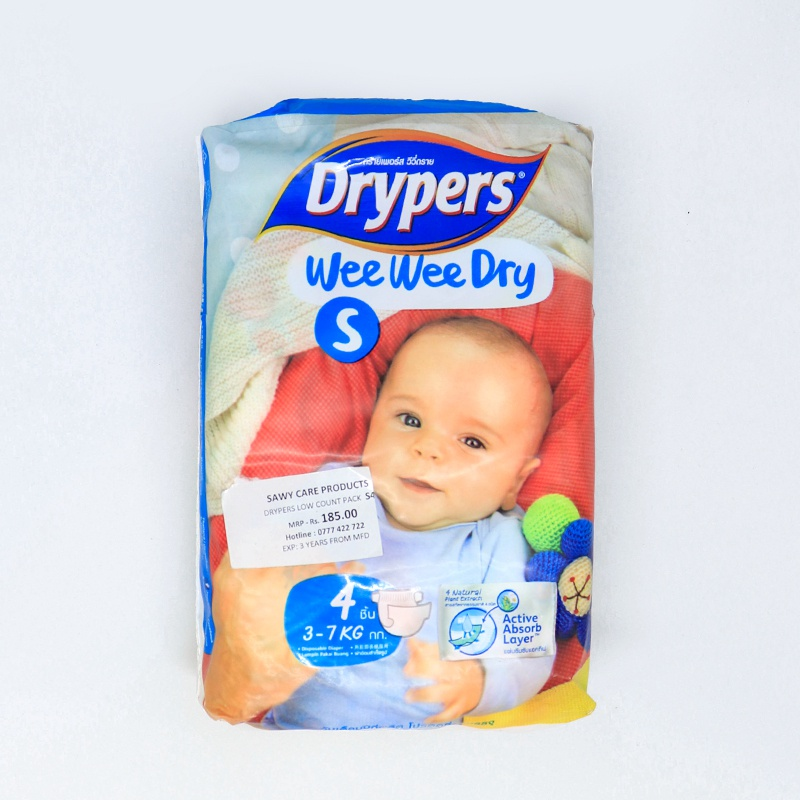 Drypers Wee Wee Dry Low Count Diaper Small 4 PCs - in Sri Lanka
