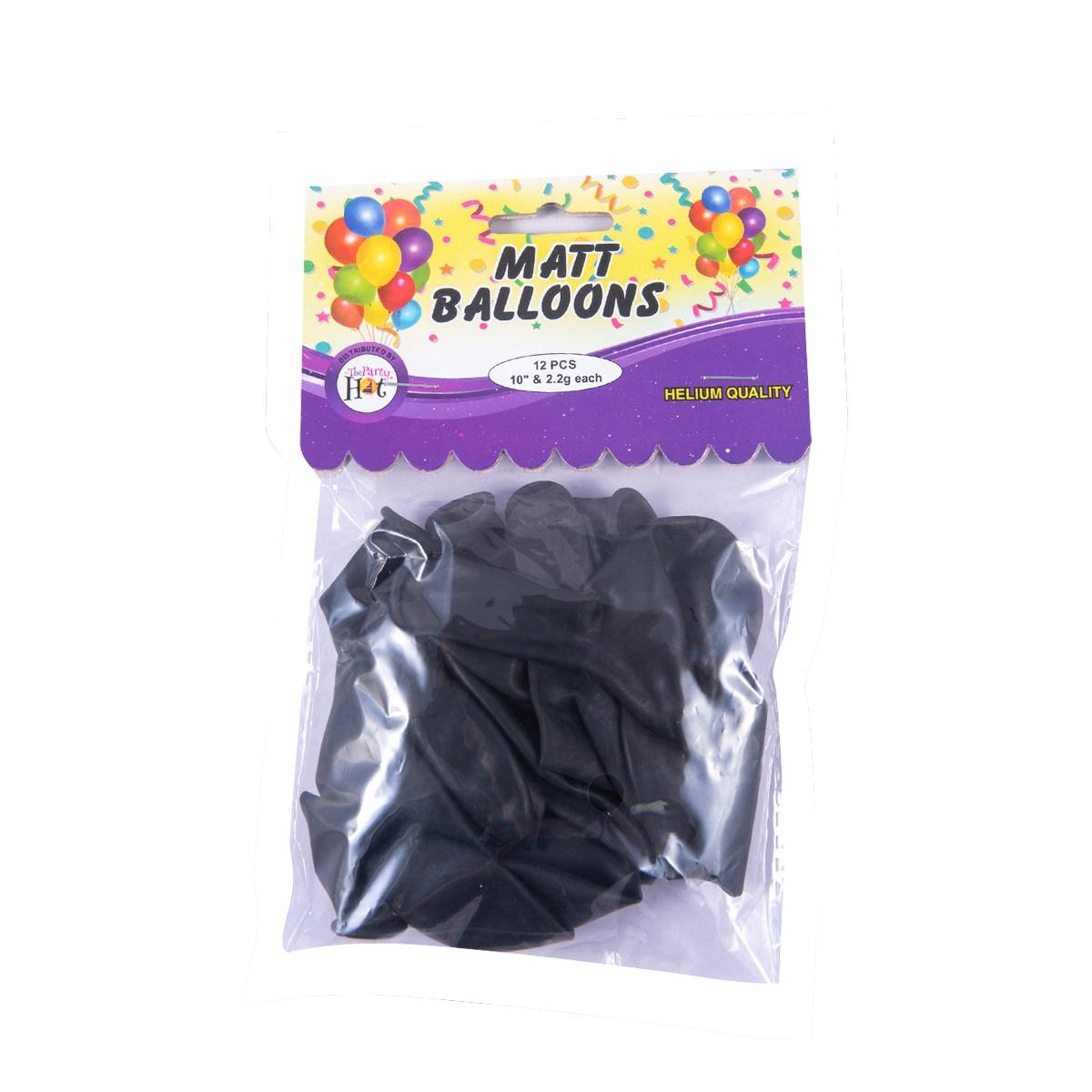Ph Matt Balloons Black 12 Pcs - in Sri Lanka