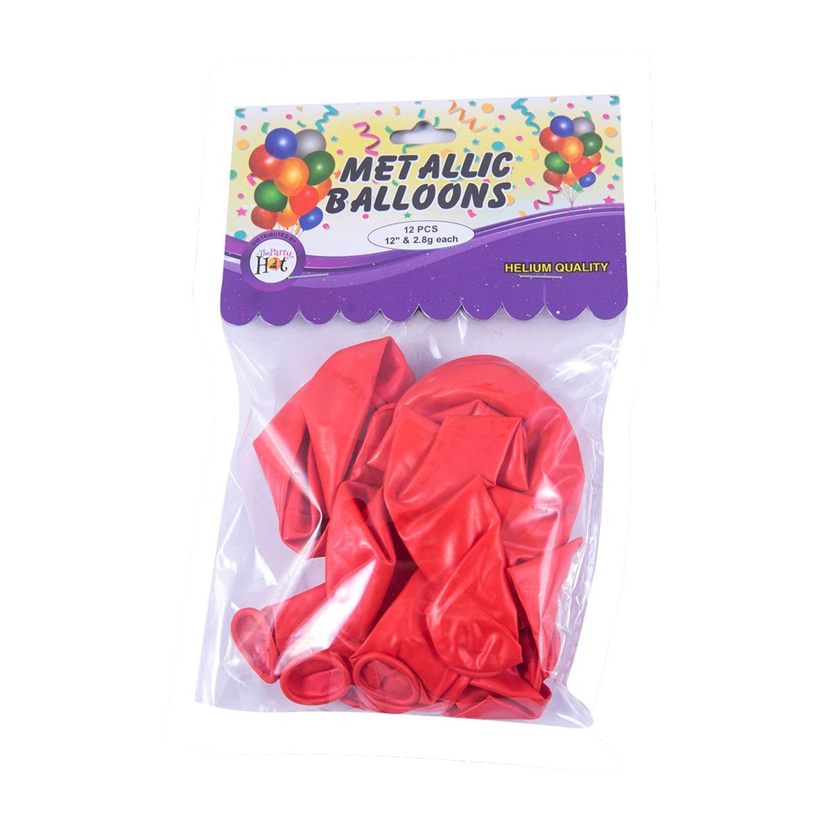 Ph Metallic Balloons Red 12 Pcs - in Sri Lanka