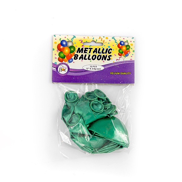 Ph Metallic Balloons Green 12 Pcs - in Sri Lanka