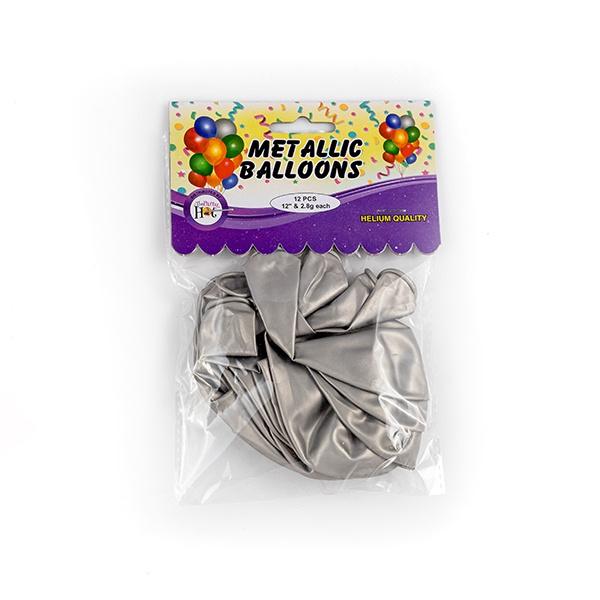 Ph Metallic Balloons Silver 12 Pcs - in Sri Lanka
