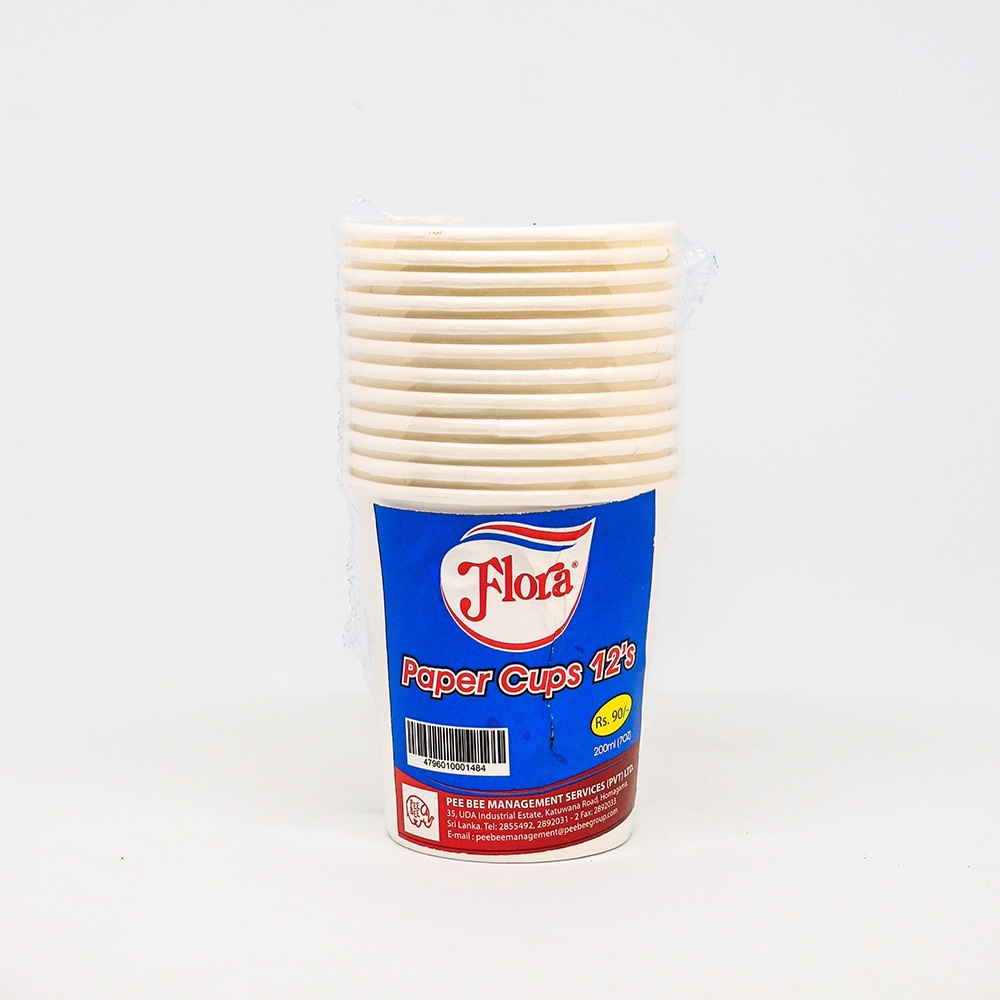 Flora Paper Cups 200ml 12 Pcs - in Sri Lanka