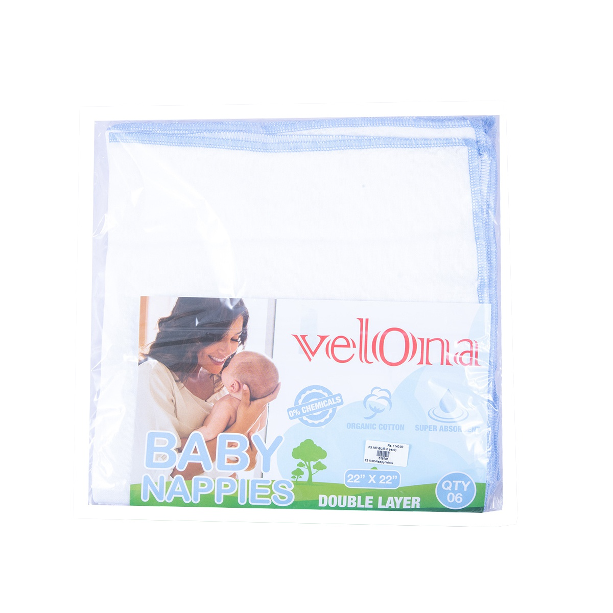 Velona Baby Nappy White With A Blue Border 22*22 6Pcs - in Sri Lanka