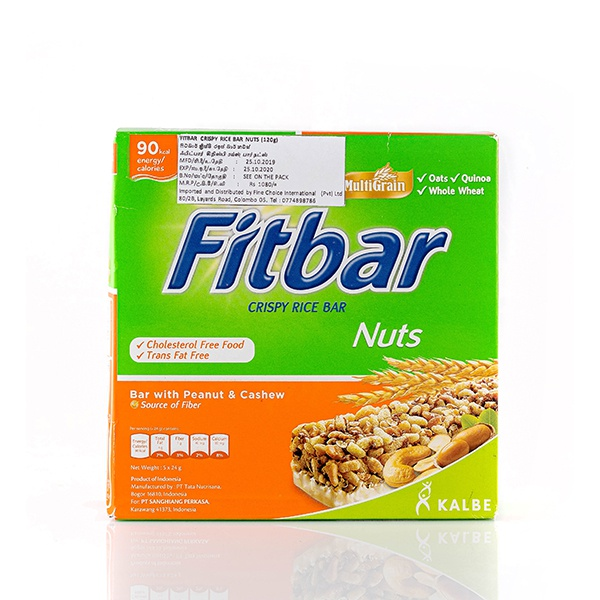 FITBAR WITH PEANUT AND CASHEW CEREAL BAR 120G - in Sri Lanka