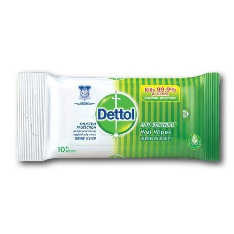 Dettol Anti-Bacterial Wet Wipe 10Pcs - in Sri Lanka
