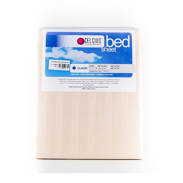 Celcius Bed Sheet Plain Cream 100x110 - in Sri Lanka