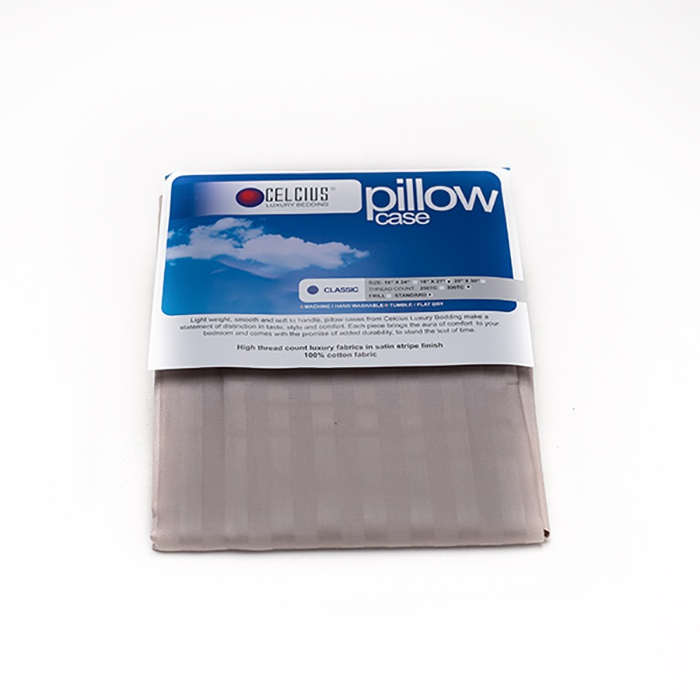 Celcius Pillow Case Plain Silver 18x27 - in Sri Lanka