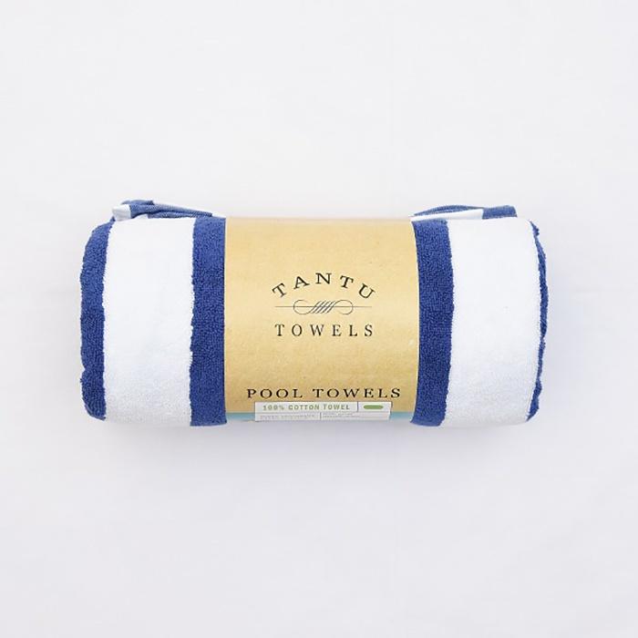 Tantu Towel Pool White & Blue 33x63 - in Sri Lanka